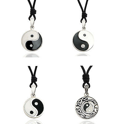Yin Yang Japanese 92.5 Sterling Silver Charm Necklace Pendant Jewelry