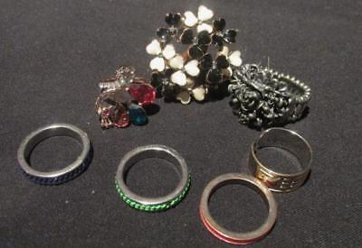 Fashion Rings 7 Retro Heart/Flower, Crystal Flower, Expanding Flower & Stacking