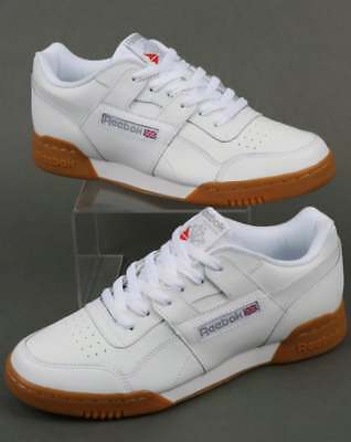 Reebok Workout Plus Trainers in White, Gum Sole - classic H Strap soft leather