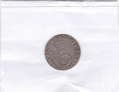 1795 George Iii Maundy Threepence In Good Very Fine Condition