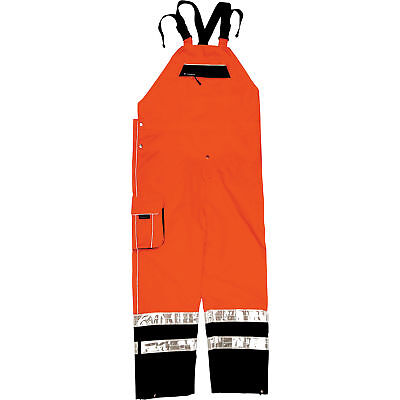 ML Kishigo Men's Class E High Visibility Rain Bib Overalls -Orange, S/M