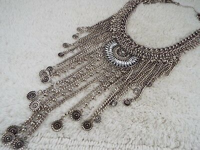 Heavy Silvertone Chain Scoop Egyptian Revival Fringe Bib Necklace (D66)