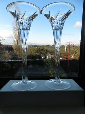PAIR OF STUNNING J.G.DURAND CRYSTAL GLASS CANDLE HOLDERS  BOXED Chevral Swirl