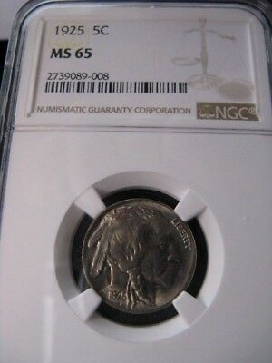 **1925**NGC Graded**MS-65** USA, ¢.05 Cent ,Indian Head