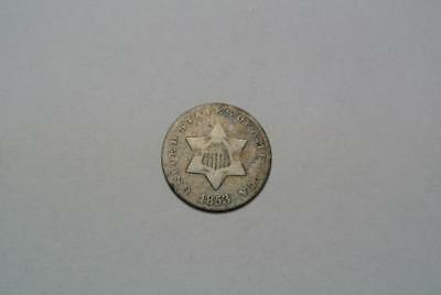 1853 Silver Three, 3 Cent Piece, VG Condition - C4989