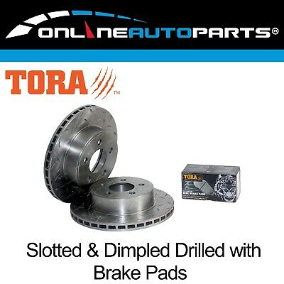 2 Front Disc Pads+Brake Rotors Drilled+Slotted Falcon AU 9/1998-4/2000 Series 1