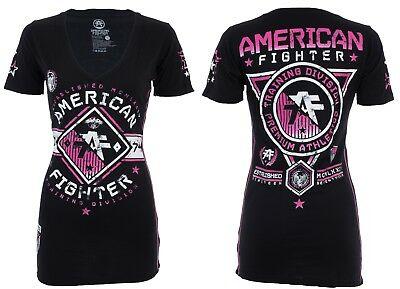 AMERICAN FIGHTER Womens T-Shirt MASSACHUSETTS Athletic BLACK PINK Biker UFC $40