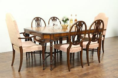 Marquetry Inlaid Satinwood Antique Dining Set, 6 Chairs, Table, 3 Leaves