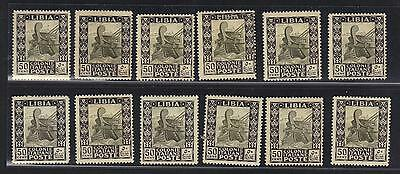Libya 1921 Fifty Cents Scott 27 Perf. 14 Twelve Stamps Some W/color Shade Var.