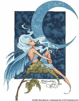Amy Brown Sticker Decal Fairy Faery MOON WATCHER Clear background blue Wings New