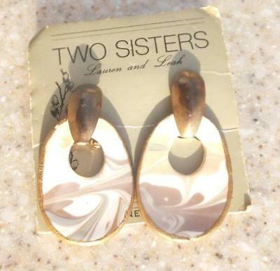 "NEW Vintage Two Sisters Porcelain handcrafted 2"" Door knocker earrings pierced"