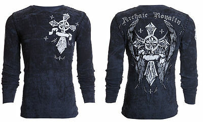ARCHAIC by AFFLICTION Men THERMAL Whipstitch T-Shirt COUNTDOWN Biker MMA UFC $58