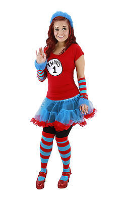 Dr Seuss Cat in the Hat Thing 1 & 2 Adult Costume Striped Knee High Socks Elope