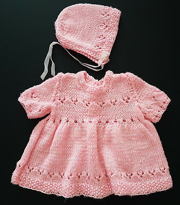 Vintage Baby Hand Knit Dress & Hat ~  Collectors, Reborn Dolls, Photo Prop