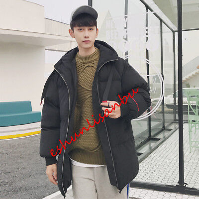 Mens Slim Fit Mid Long Outwears Puffer Overcoats Winter Stylish Cotton Blend New