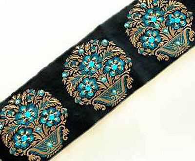 Blue Beaded Flowers on Black & Gold Jacquard Trim. Hand Beaded Trim
