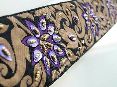 Purple Beaded Flowers on Black & Gold Jacquard Trim. Old World Artistry. 3 yards