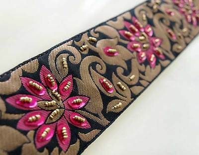 Pink Beaded Flowers on Black & Gold Jacquard Trim. Old World Artistry. Hand Made