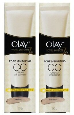 2 X OLAY 50g TOTAL EFFECTS 7 IN 1 CC CREAM WITH SUNSCREEN MEDIUM SPF 15
