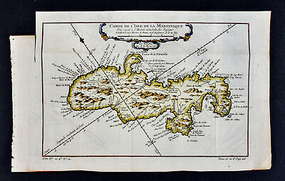 1758 Bellin Map - Isle de Martinique Fort Royal - West Indies Caribbean Island