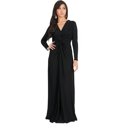 Koh Koh Womens Semi Formal Flowy Fall Long Sleeve Gowns Maxi Dresses