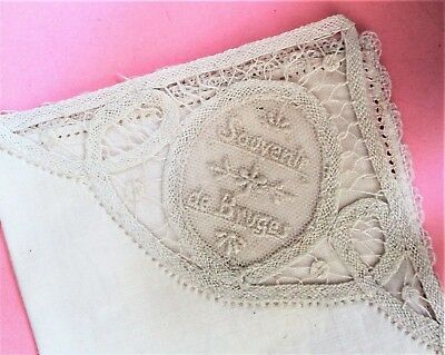 Charming Vintage Souvenir Bruges Hand Made Lace Fine Linen Handkerchief - Unused