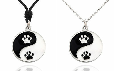 New Dog Paws Yin Yang Silver Pewter Charm Necklace Pendant Jewelry