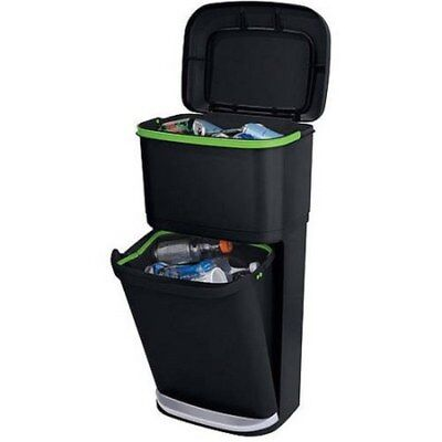 Rubbermaid Double Decker Recycling Bin Modular Indoor Garbage Kitchen Trash Can
