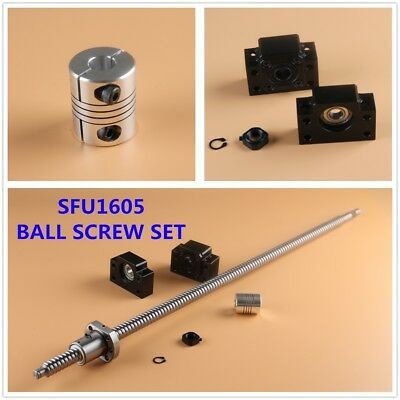 SFU1605 CNC Ball Screw Set with Nut + BK/BF12 + 6.35x10mm Couplers L300-1500MM