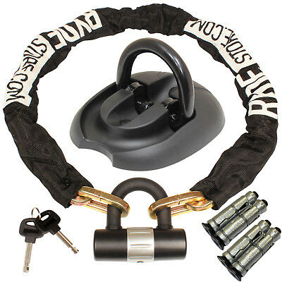 Ryde 1M Heavy Duty Motorcycle Chain & D Lock & Flip Down Wall/ground Anchor