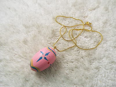 Goldtone Pink Painted Wood Easter Egg Pendant Necklace (C61)
