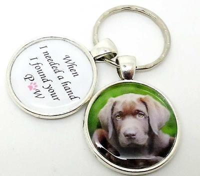 Personalised Photo Keychain, Pet Dog keyring, I needed A hand I found your PAW