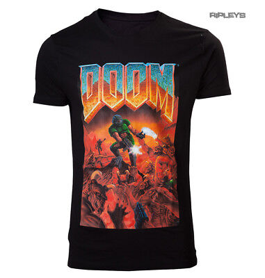 Official Black T Shirt DOOM Video Game Classic BOX ART Logo All Sizes