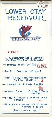 Fish-n-Map Co. LOWER OTAY RESERVOIR c.1990