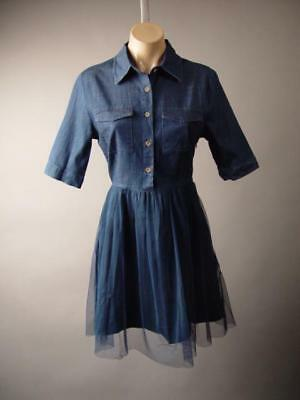 Dark Denim Tulle Full Skirt Fit and Flare High Waisted Shirt 263 mv Dress S M L