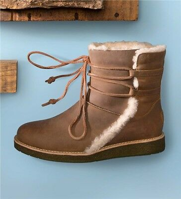 ad96f79ca88 UGG AUSTRALIA BOOTS Luisa Water Resistant Uggs Leather Brown Ankle Booties  6.5