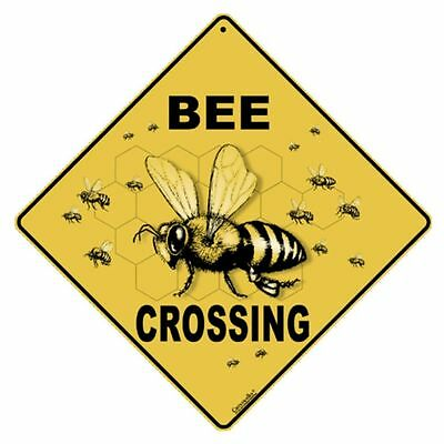 Bee Crossing Sign NEW 12X12 Metal Honey