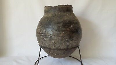Ancient Chinese 400 BC  Black Burnished Pottery  Vessel w Stand 11""