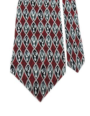 "Cocktail Collection Men's 100% Silk Woven Geometric Neck Tie Wine 3 7/8"" x 56"""