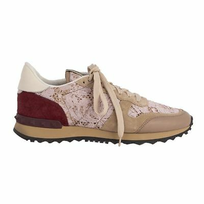 a6d57a0dfb30 52941 auth VALENTINO beige suede   pink LACE ROCKRUNNER Sneakers Shoes 38