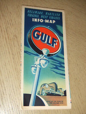 VINTAGE 1940 Gulf Oil Gas Delaware Maryland Virginia West State Highway Road Map