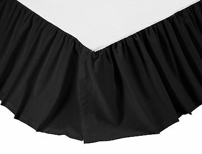 """Solid Black Bed Skirt in Your Choice of Four Sizes, Generous 16"""" Drop, Cotton"""