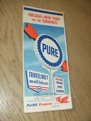 VINTAGE 1961 Pure Oil Gas Chicago to New York Turnpikes Highway Road Map STAMP