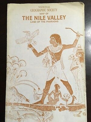 National Geographical Society Map Of The Nile Valley - Land Of The Pharaohs