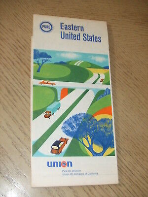 VINTAGE 1968 Pure Oil Gas Eastern United States Highway Road Map Union 76 USA EX