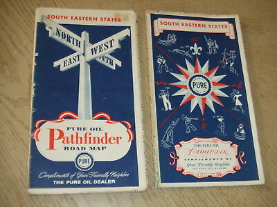 2 VINTAGE 1940 1942 Pure Oil Gas South Eastern United States Highway Road Maps