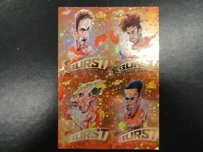 2018 Afl Select Footy Stars Yellow Starburst Caricature Set Of 4 Gold Coast