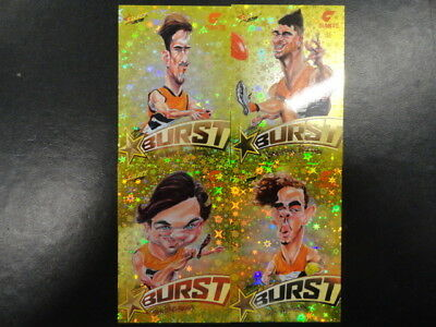 2018 Afl Select Footy Stars Yellow Starburst Caricature Set Of 4 Gws