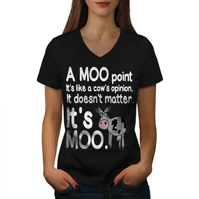 Cow Moo Opinion Women V-Neck T-shirt NEW | Wellcoda
