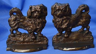 Pekingese Tibetan Spaniel Dog Bronze Bookends